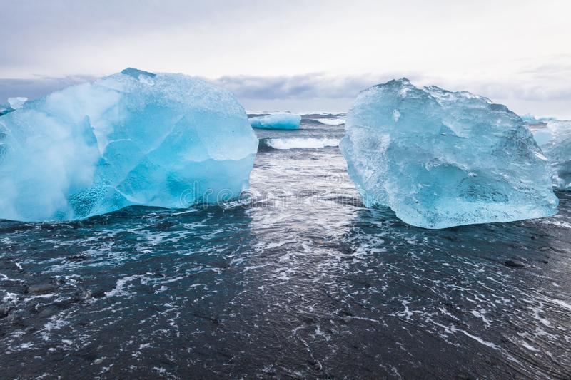 Jokulsarlon is a glacial lagoon or better known as Iceberg Lagoon. Which located in Vatnajokull National Park Iceland stock photography