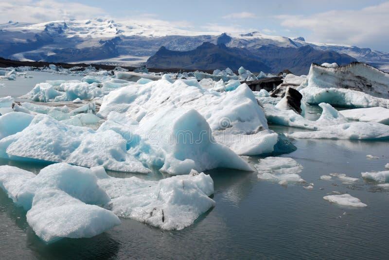 Jokulsarlon glacier and Glacier lagoon- Iceland. Jokulsarlon the largest glacier lagoon or lake in south eastern Iceland at the head of the Breidamerkurjokull stock photos