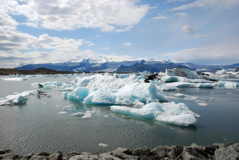 Jokulsarlon glacier and Glacier lagoon- Iceland. Jokulsarlon the largest glacier lagoon or lake in south eastern Iceland at the head of the Breidamerkurjokull royalty free stock image