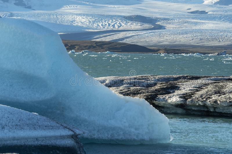 Jokulsarlon a large glacial lake in southeast Iceland, Iceland.  royalty free stock photography