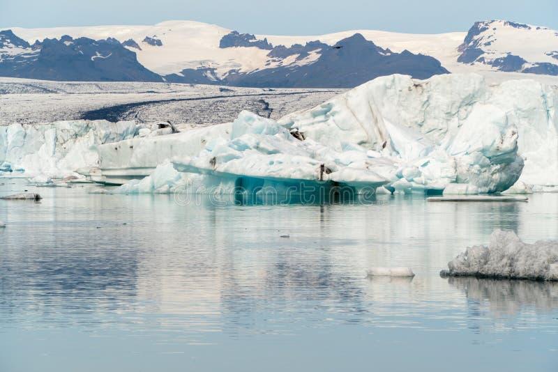 Jokulsarlon lodowa laguny zatoka z błękitnymi górami lodowa unosi się na st zdjęcia royalty free