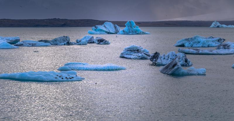 Jokulsarlon - May 05, 2018: Iceberg lagoon of Jokulsarlon, Iceland stock images
