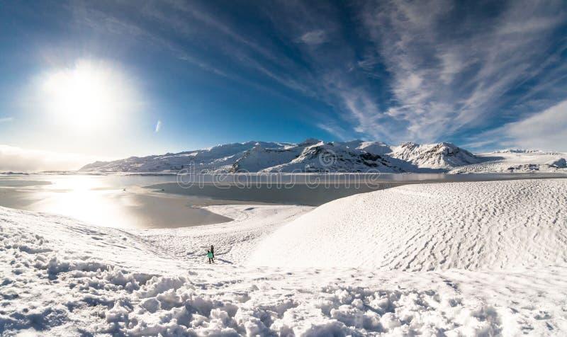 Jokulsarlon snow landscape in Hvannadalshnukur. Jökulsárlón is a glacial lagoon, bordering Vatnajökull National Park in southeastern Iceland. Its stock photography