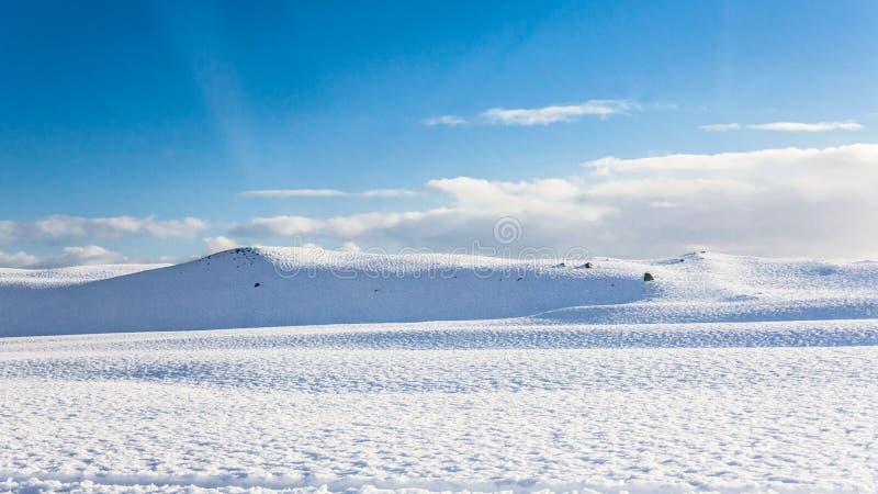Jokulsarlon snow landscape in Hvannadalshnukur. Jökulsárlón is a glacial lagoon, bordering Vatnajökull National Park in southeastern Iceland. Its royalty free stock image