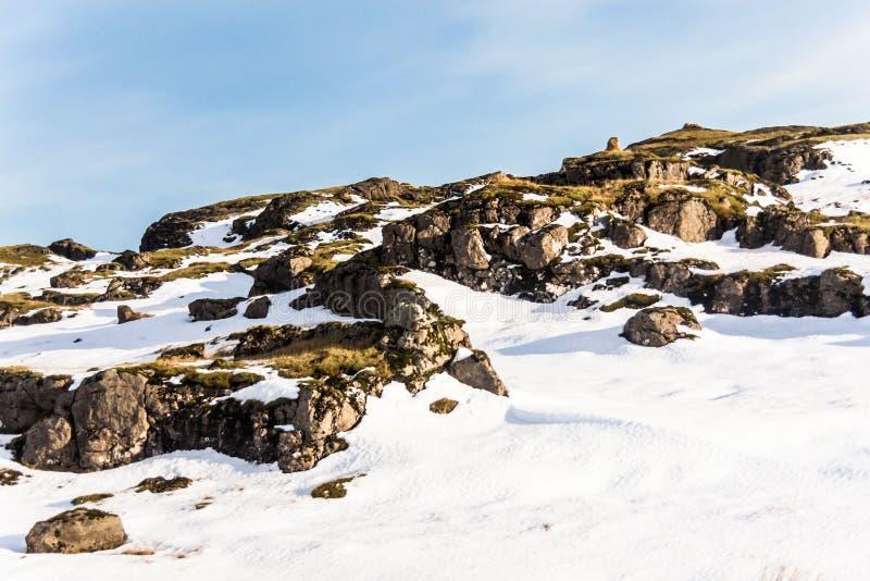 Jokulsarlon snow landscape in Hvannadalshnukur. Jökulsárlón is a glacial lagoon, bordering Vatnajökull National Park in southeastern Iceland. Its stock photos