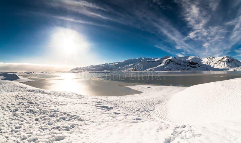 Jokulsarlon snow landscape in Hvannadalshnukur. Jökulsárlón is a glacial lagoon, bordering Vatnajökull National Park in southeastern Iceland. Its royalty free stock images