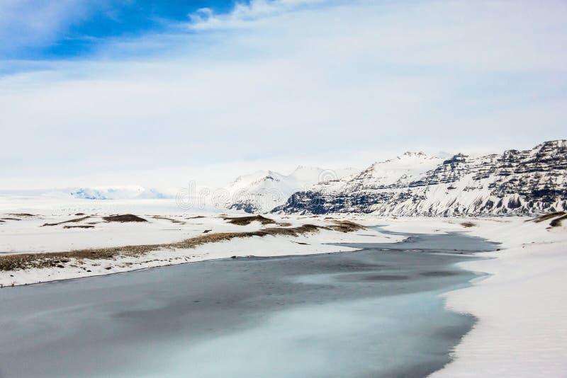 Jokulsarlon snow landscape in Hvannadalshnukur. Jökulsárlón is a glacial lagoon, bordering Vatnajökull National Park in southeastern Iceland. Its stock images