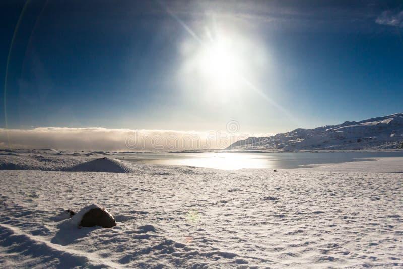 Jokulsarlon snow landscape in Hvannadalshnukur. Jökulsárlón is a glacial lagoon, bordering Vatnajökull National Park in southeastern Iceland. Its royalty free stock photography
