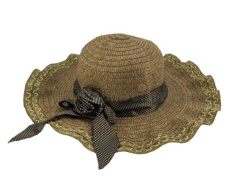 Joli chapeau de paille d'isolement sur le fond blanc Chemin de coupure photo stock