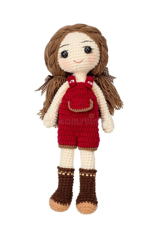 Joli crochet de poupée de fille à la main faire d'isolement sur le fond blanc photos libres de droits