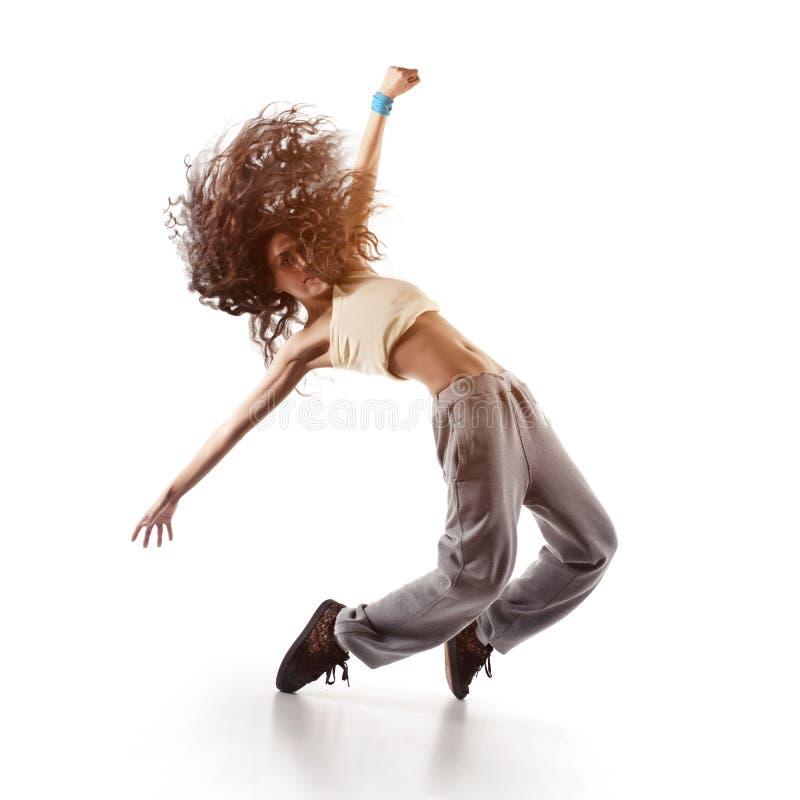 Joli danseur de femme d'isolement sur le blanc photographie stock
