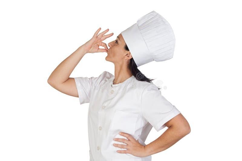 Joli dire de fille de cuisinier délicieux images libres de droits