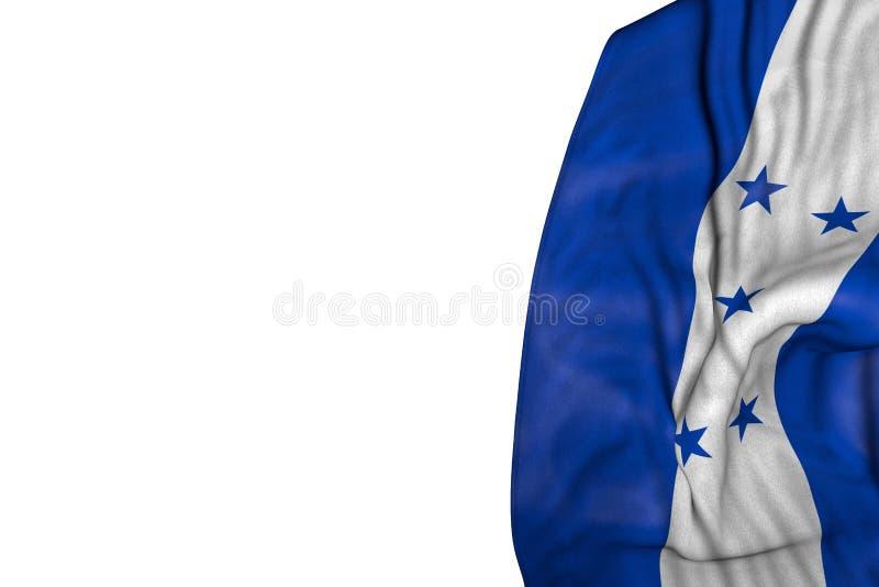 Joli drapeau du Honduras avec de grands plis se situant dans le côté gauche d'isolement sur blanc - toute illustration du drapeau illustration de vecteur