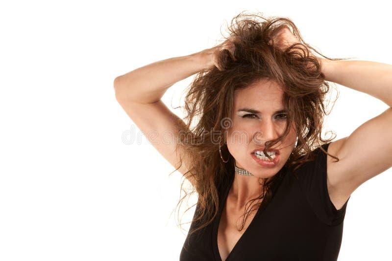 Joli femme avec le cheveu sauvage photo libre de droits