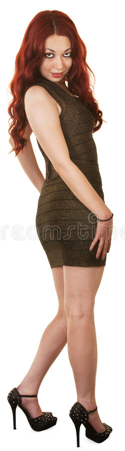 Joli femme dans la robe courte photographie stock libre de droits