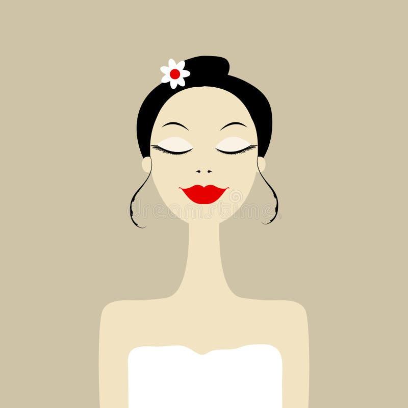 Joli femme dans le salon de station thermale