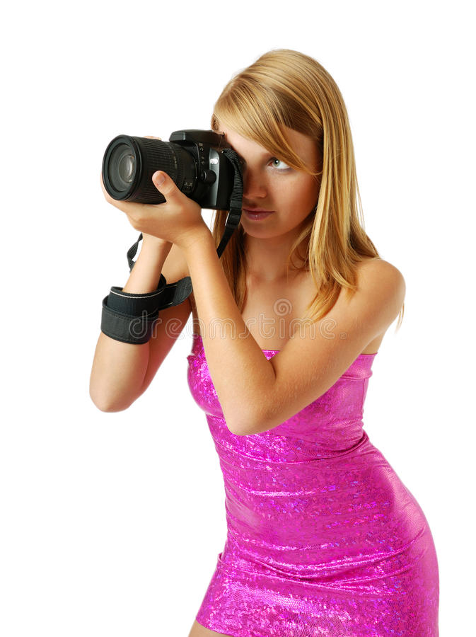 Joli femme photographiant avec un grand appareil-photo photos stock