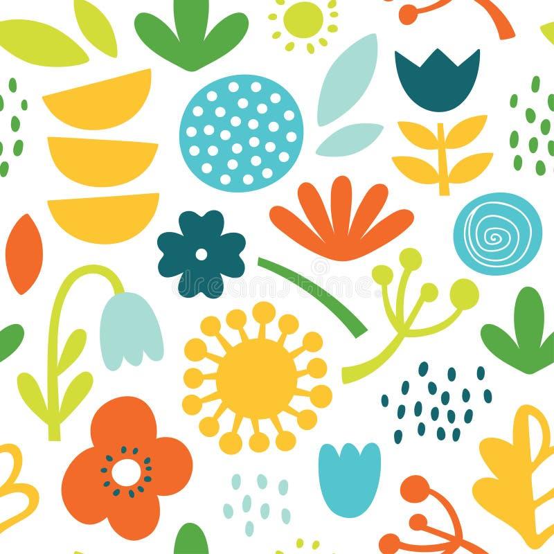 Joli motif vectoriel coloré et joli scandinave avec fleurs, plantes et feuilles en couleurs vives photo stock