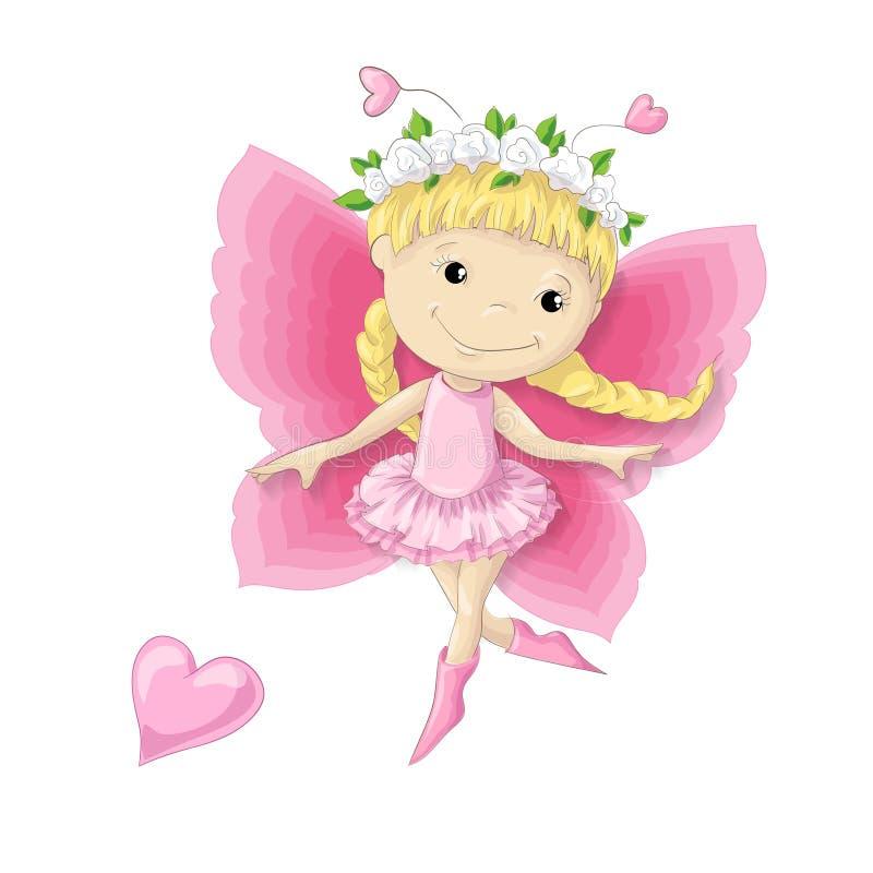 Joli personnage de dessin animé une fille de papillon dans une guirlande des fleurs et d'une robe rose illustration libre de droits