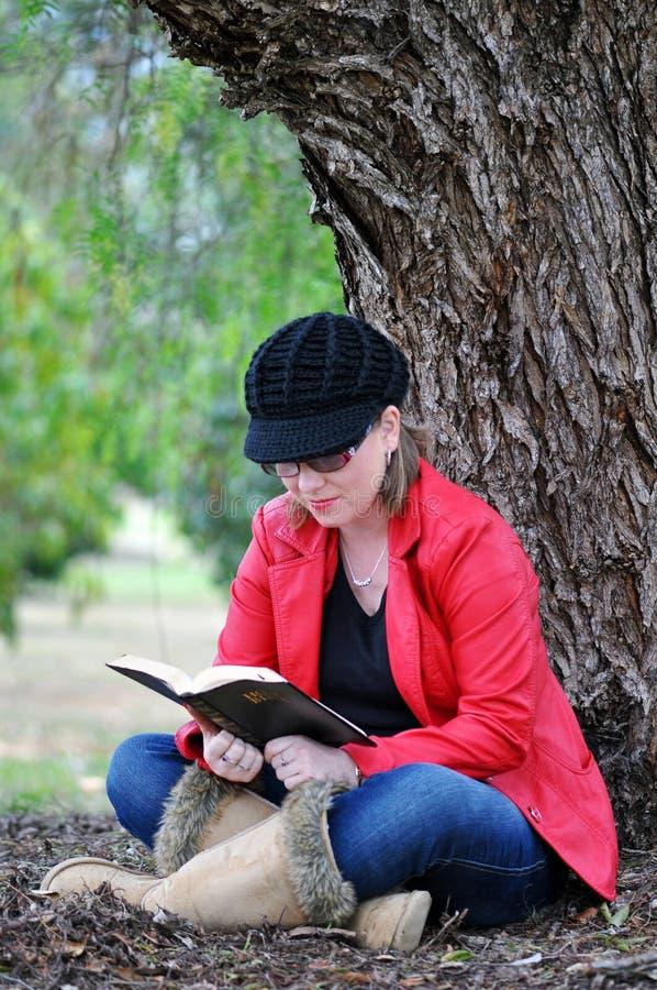 Jolie adolescente étudiant la Sainte Bible près de l'arbre énorme en stationnement photos stock