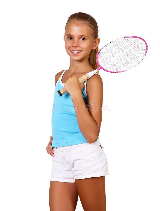 Jolie adolescente avec la raquette photos libres de droits