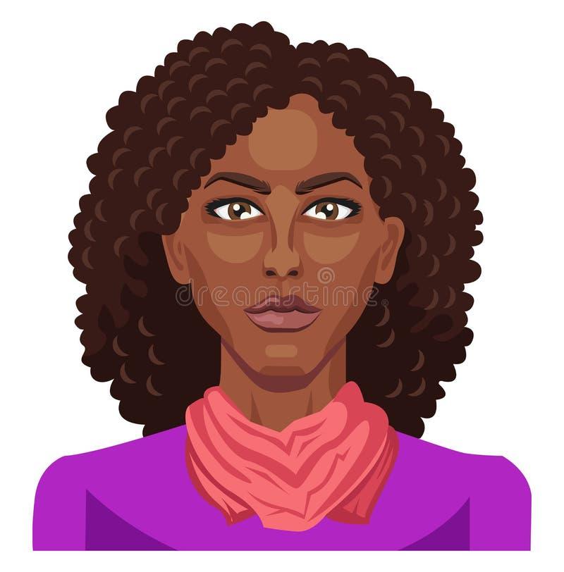 Jolie afro fille avec un vecteur d'illustration des cheveux bouclés illustration libre de droits