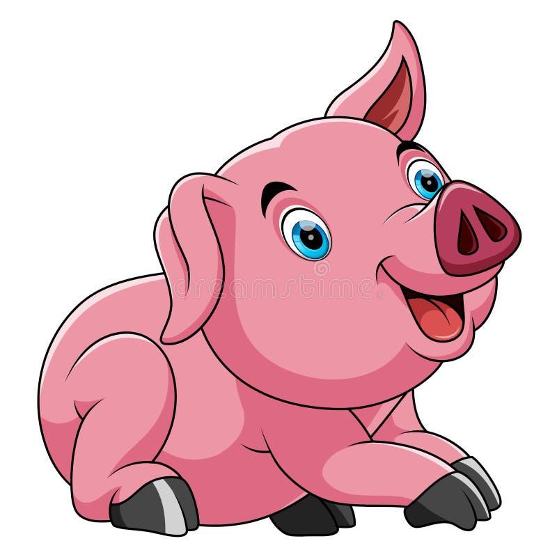 Jolie bande dessinée mignonne de porc illustration stock