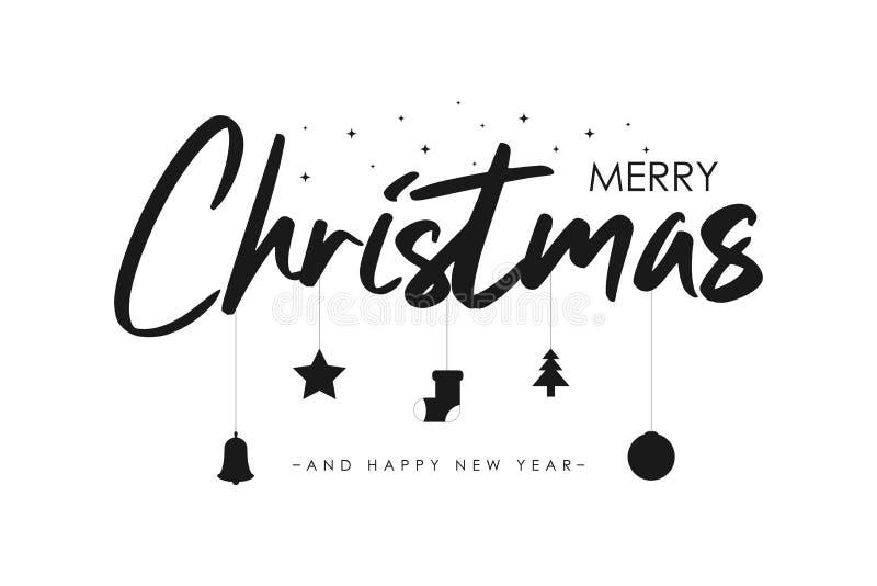 Jolie bannière de Noël avec étoile, arbre et ballon de Noël, chaussettes et cloche Carte des jours fériés du Nouvel An Vecteur illustration stock