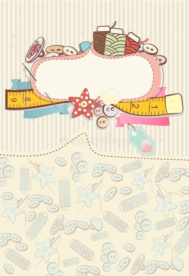 Jolie carte avec les accessoires de couture illustration stock