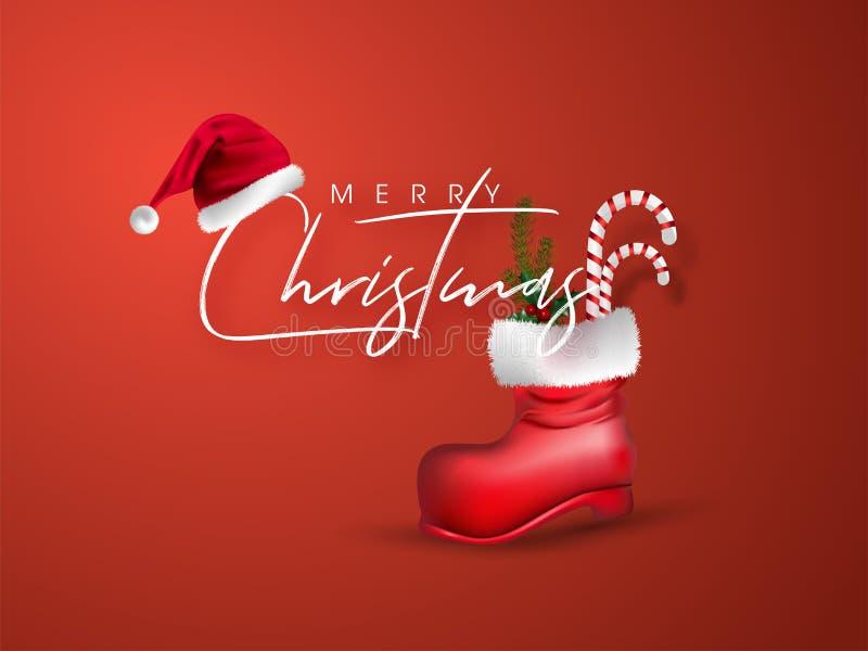 Jolie carte de voeux de Noël avec chapeau santa et canne à bonbons, feuilles de pin en botte rouge illustration libre de droits
