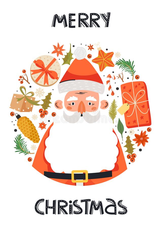 Jolie composition du cercle de Noël et de Bonne Année illustration stock