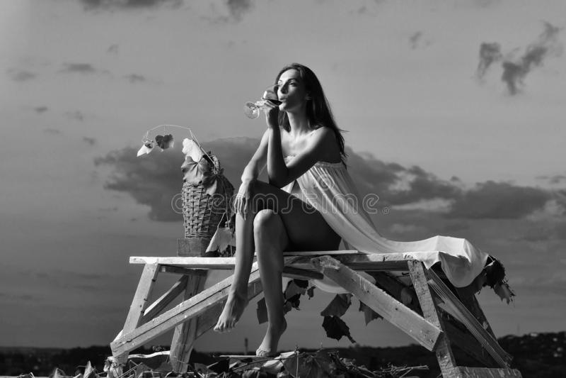 Jolie femme avec du vin au-dessus du ciel image libre de droits