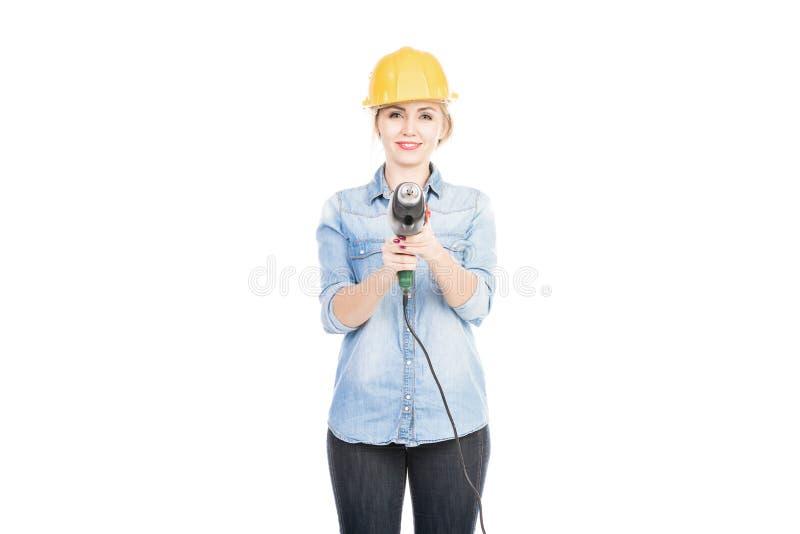 Jolie femme avec le foret images libres de droits