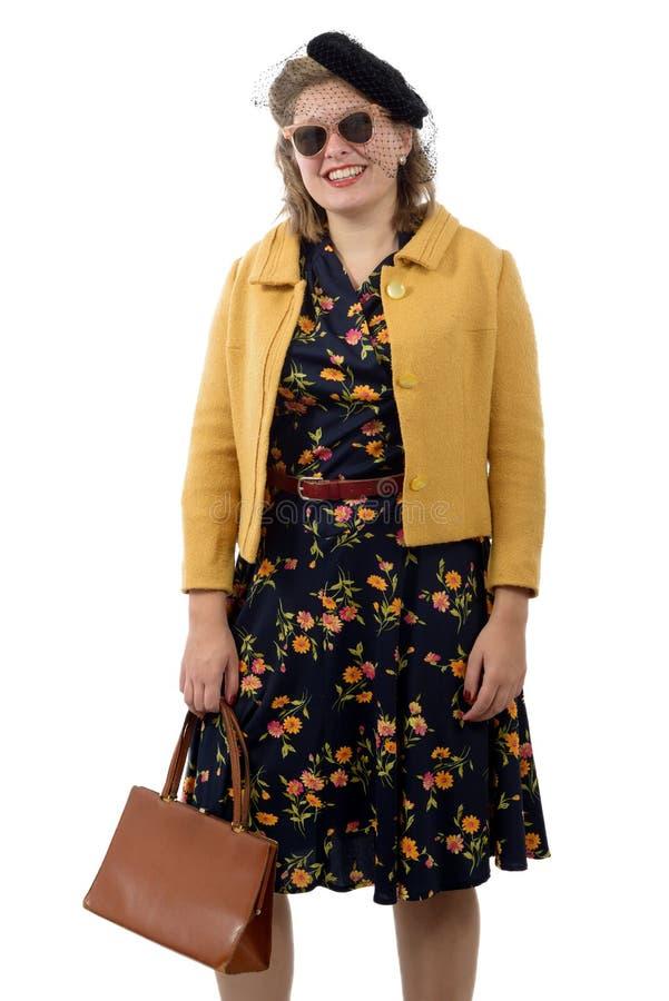 Jolie femme avec le style des vêtements 1940 photo libre de droits