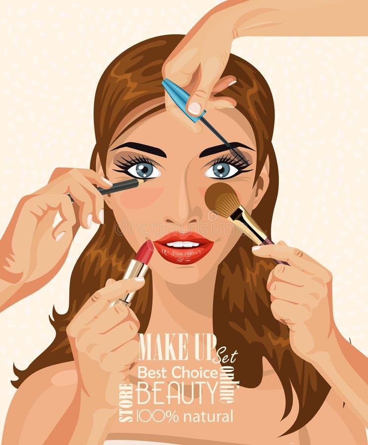 Jolie femme avec les poils bruns tenant le rouge à lèvres sur l'illustration légère de fond illustration libre de droits