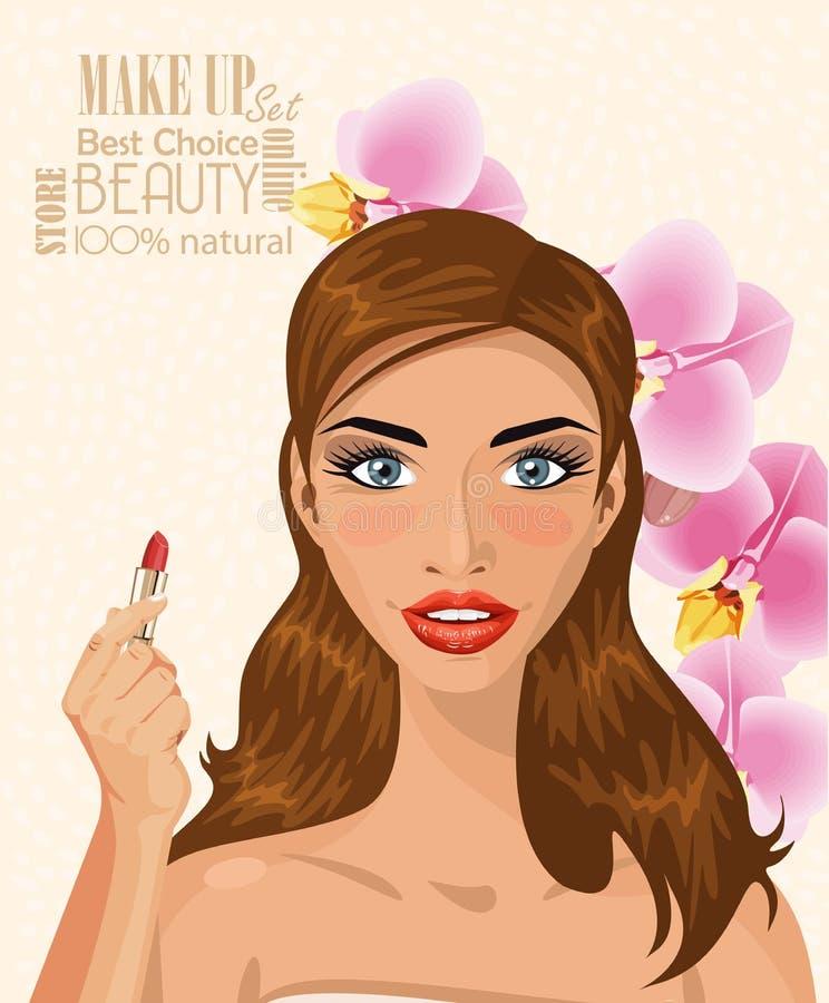 Jolie femme avec les poils bruns tenant le rouge à lèvres sur l'illustration légère de vecteur de fond illustration stock
