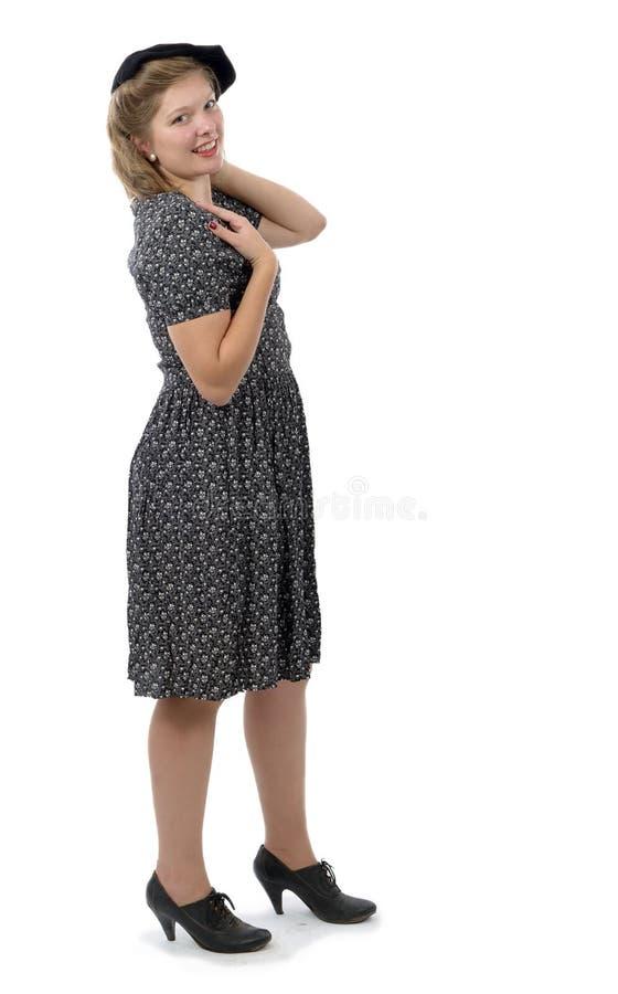 Jolie femme avec les vêtements 1940 images libres de droits