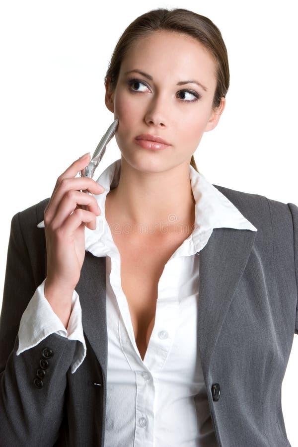 Jolie femme d'affaires de téléphone photo libre de droits
