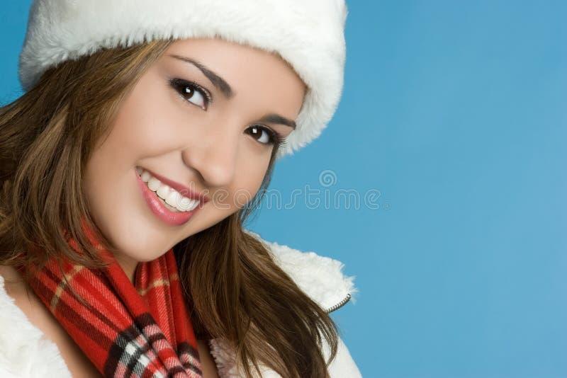 Jolie femme de l'hiver image stock