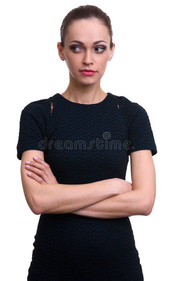 Jolie femme regardant au côté photographie stock
