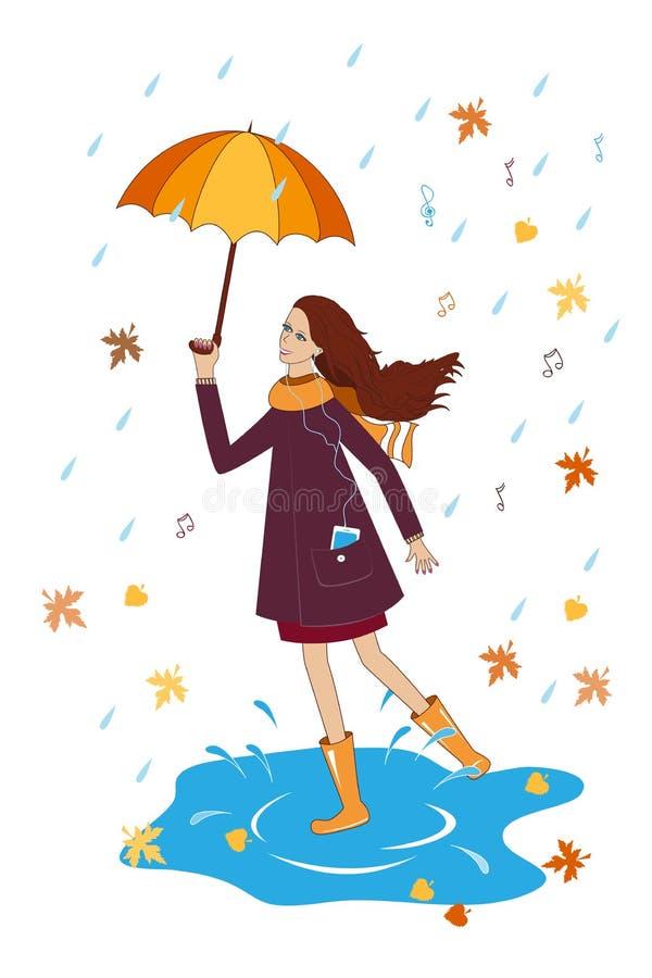 Jolie fille écoutant la musique avec un parapluie Femme heureux illustration stock