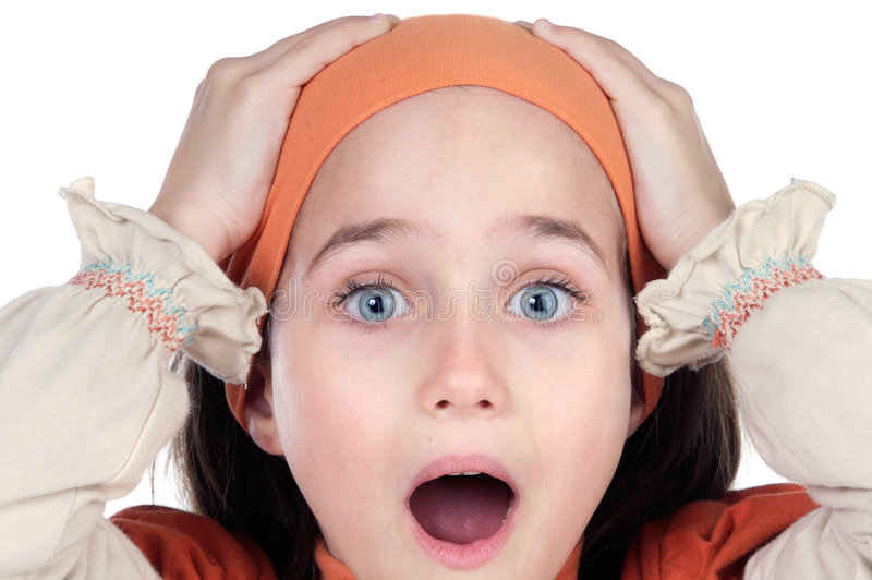Jolie fille étonnée photographie stock libre de droits