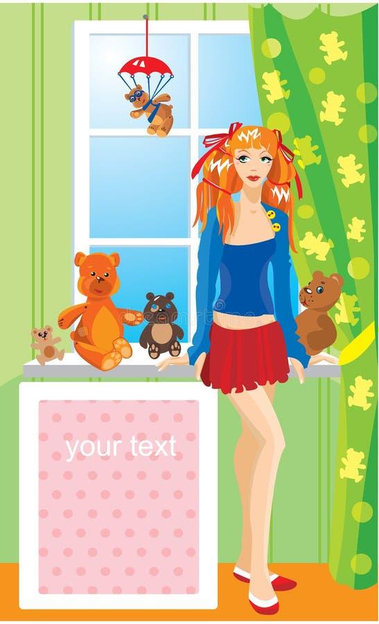 Jolie fille avec des ours de nounours illustration libre de droits