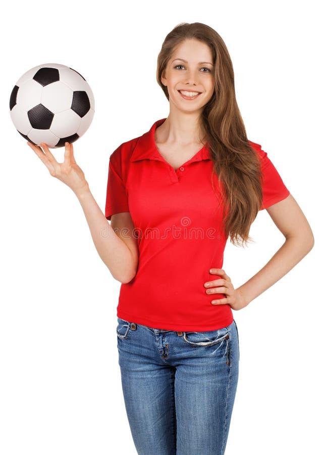 Jolie fille avec du ballon de football photo stock