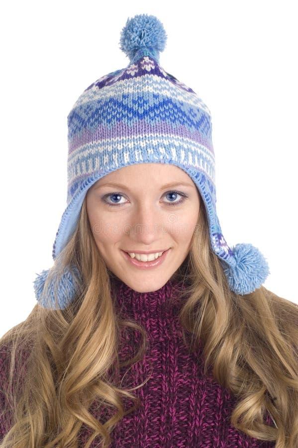 Jolie fille avec le capuchon de l'hiver images stock