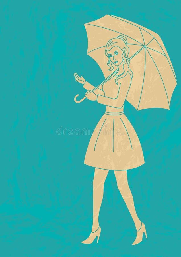 Jolie fille avec le parapluie illustration stock