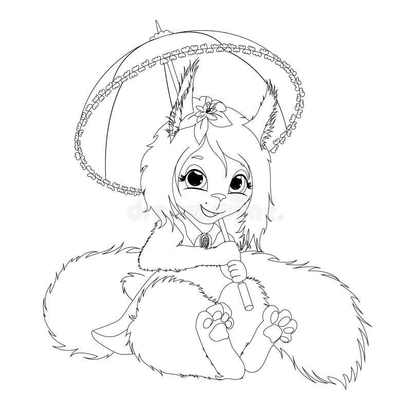 Jolie fille d'écureuil de sourire avec un parapluie dans une robe Illustration de scetch de contuor de vecteur ENV 10 illustration libre de droits