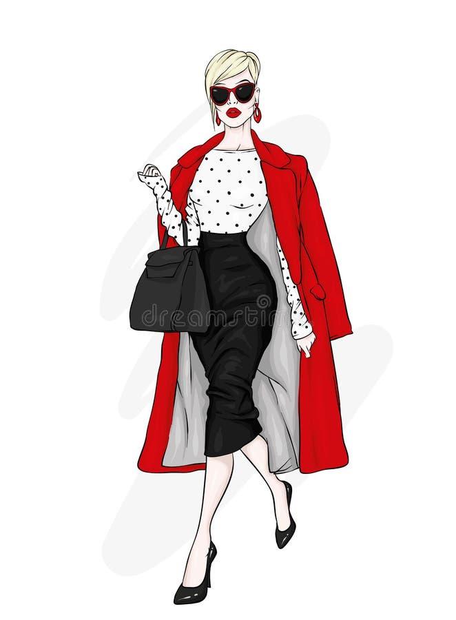 Jolie fille dans des vêtements à la mode Illustration de vecteur illustration libre de droits