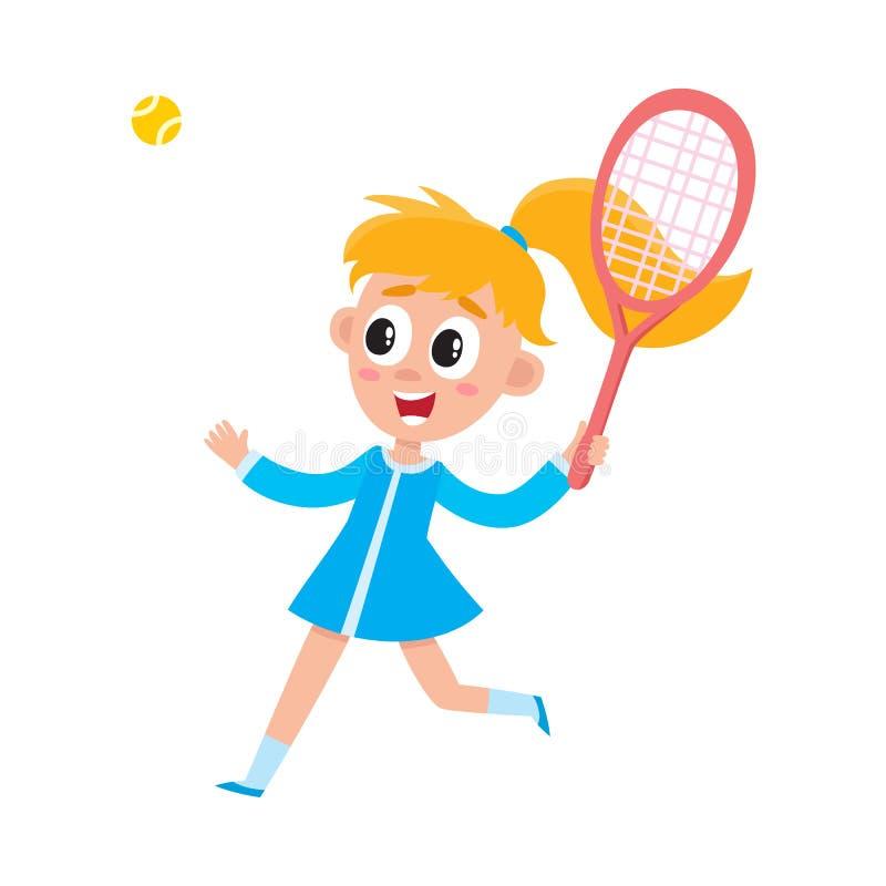 Jolie fille dans la robe d'été jouant le badminton illustration de vecteur