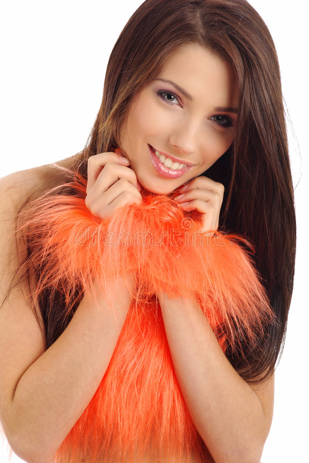 Jolie fille dans le costume orange images libres de droits